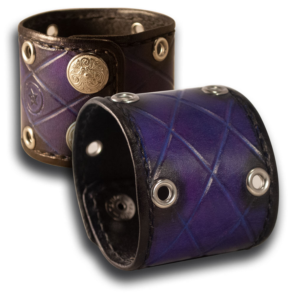 Purple Stressed Quilted Cuff Wristband with Diablo Snaps-Leather Cuffs & Wristbands-Rockstar Leatherworks™