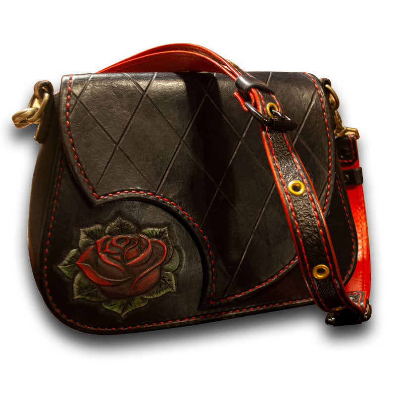 Black Quilted Rose Leather Handbag-Rockstar Leatherworks™