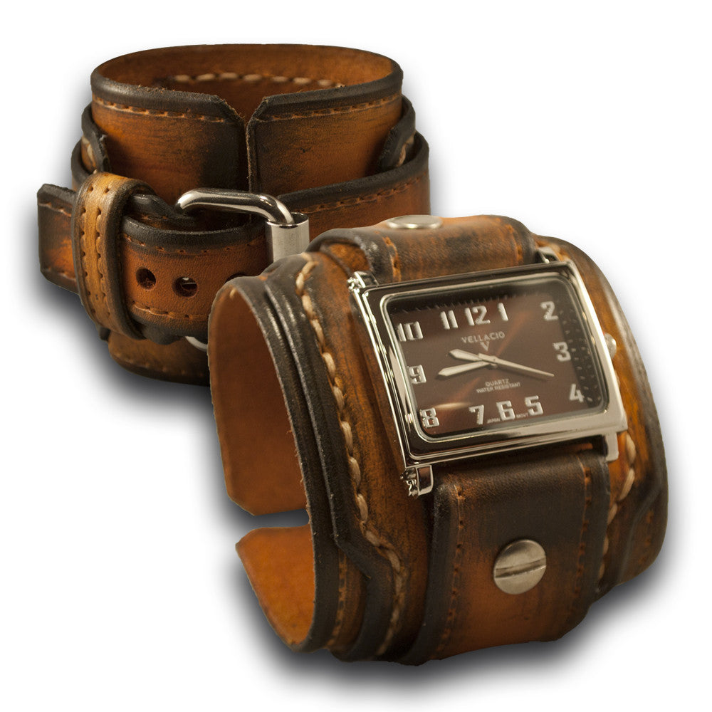 Range Tan Stressed Rockstar Drake Leather Cuff Watch