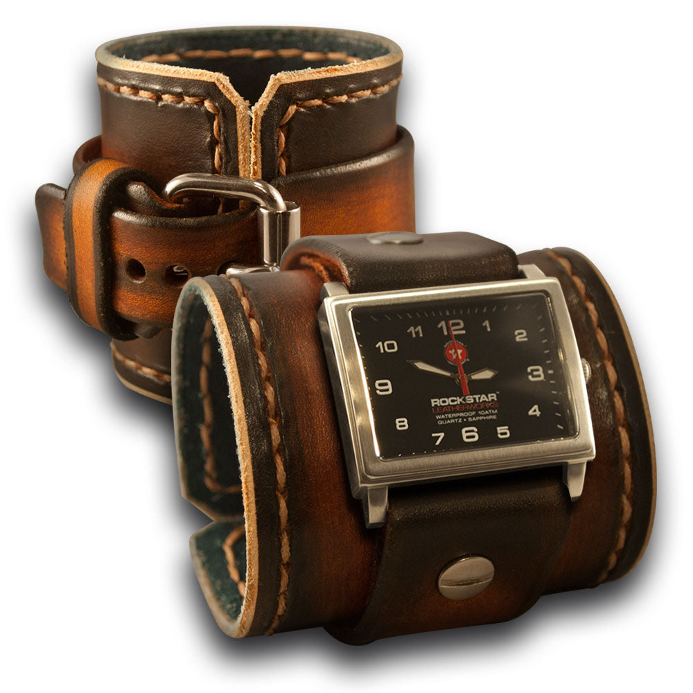 Range Tan Leather Cuff Watch with Stitching and Stainless Buckle-Leather Cuff Watches-Rockstar Leatherworks™