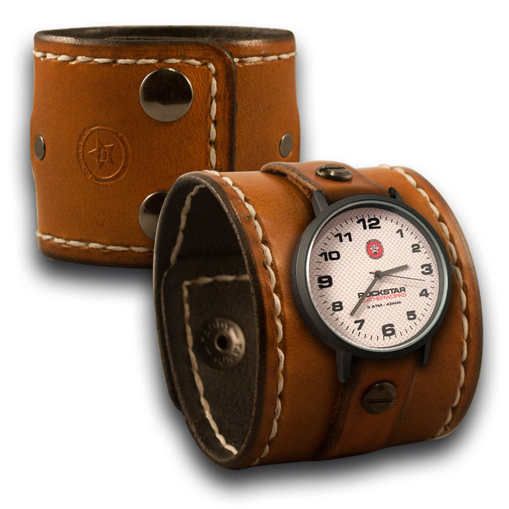 Range Tan Leather Cuff Watch with Stitching & Black Snaps-Leather Cuff Watches-Rockstar Leatherworks™