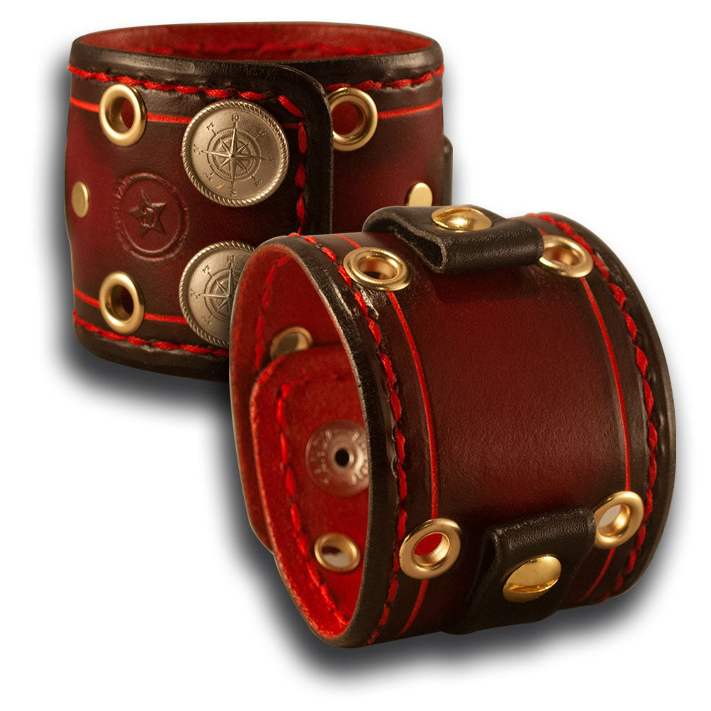 Red Stressed Leather Cuff Watch Band with Eyelets and Snaps-Custom Handmade Leather Watch Bands-Rockstar Leatherworks™