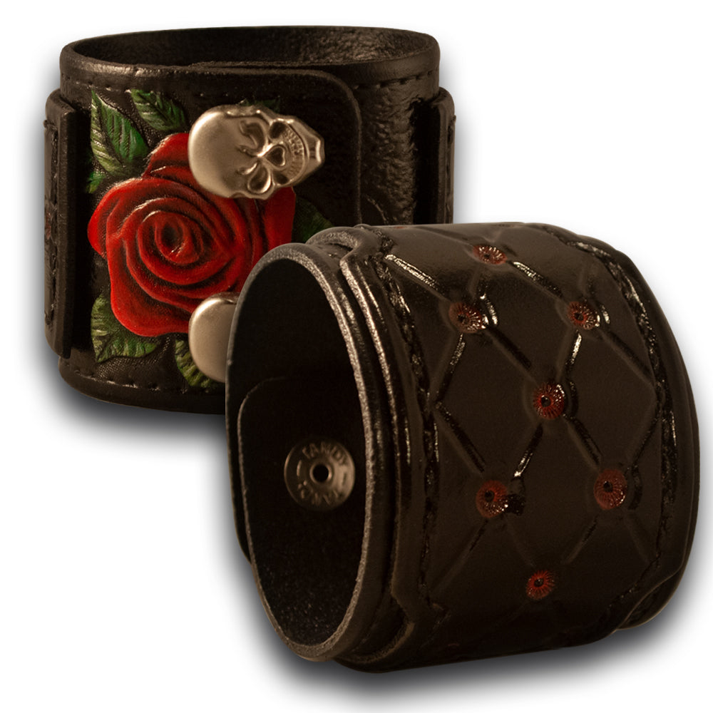 Black Layered & Quilted Cuff with Rose, Skull Snaps & Red Stitching-Leather Cuffs & Wristbands-Rockstar Leatherworks™