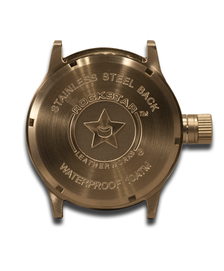 Brown Stressed Rockstar Leather Cuff Watch - Stainless, Sapphire 10ATM-Leather Cuff Watches-Rockstar Leatherworks™