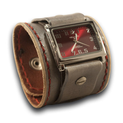 Sliver & Red Leather Cuff Watch with Stitching and Snaps-Leather Cuff Watches-Rockstar Leatherworks™