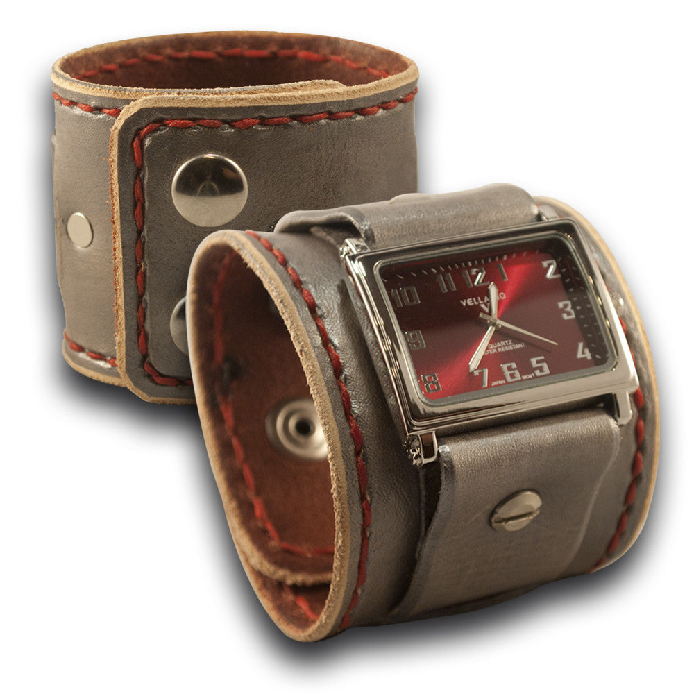 Sliver & Red Leather Cuff Watch with Stitching and Snaps