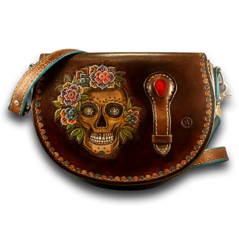 Brown Leather Sugar Skull Handbag-Rockstar Leatherworks™