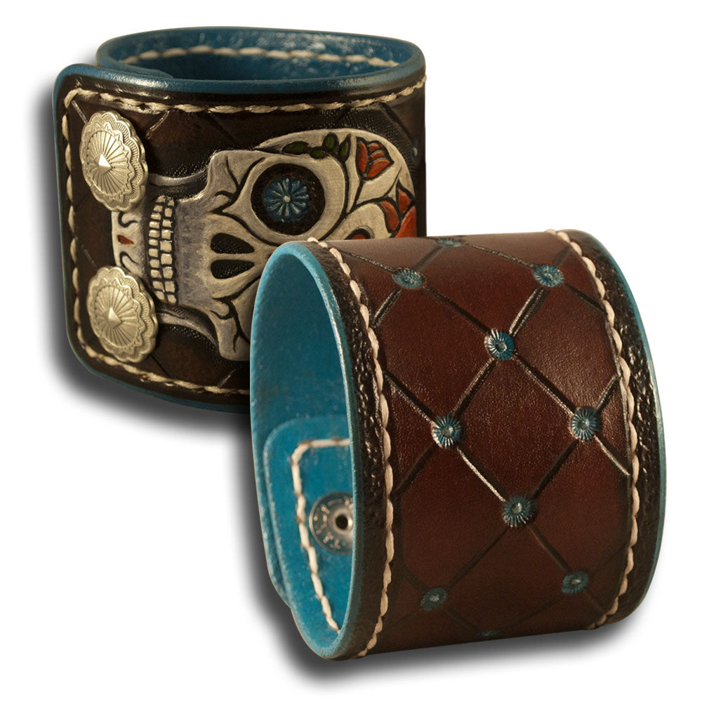 Sugar Skull Leather Cuff Wristband with Snaps & White Stitching