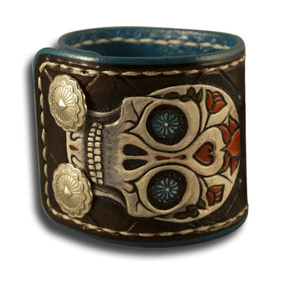 Sugar Skull Leather Cuff Wristband with Snaps & White Stitching-Leather Cuffs & Wristbands-Rockstar Leatherworks™