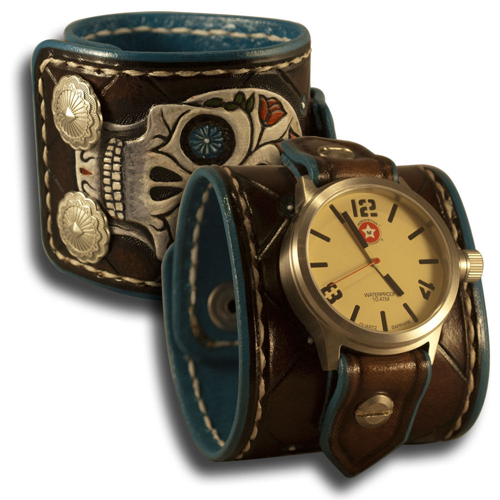 Brown Leather 42mm Cuff Watch with Sugar Skull & Snaps