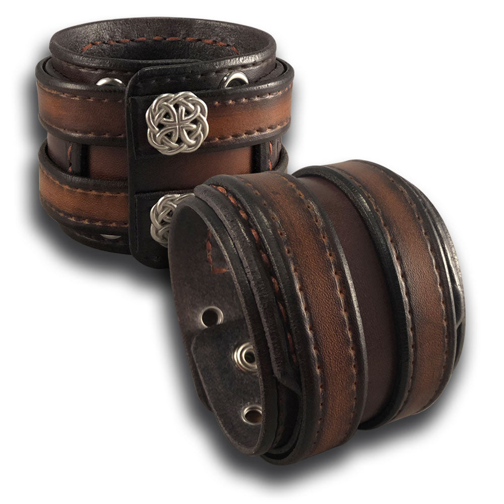 Leather Double Strap Cuff with Layered Cuff & Celtic Snaps-Leather Cuffs & Wristbands-Rockstar Leatherworks™