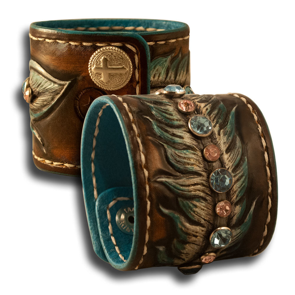 Cowgirl Leather Cuff Wristband with Feather, Stones & Cross Snaps