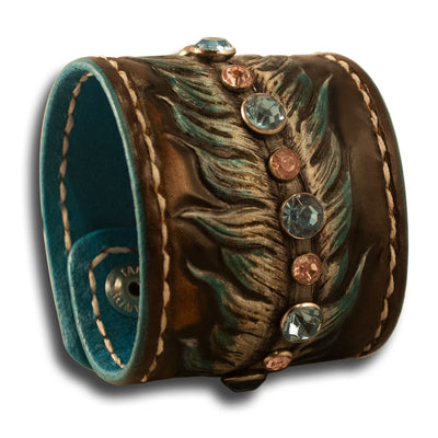 Cowgirl Leather Cuff Wristband with Feather, Stones & Cross Snaps-Leather Cuffs & Wristbands-Rockstar Leatherworks™