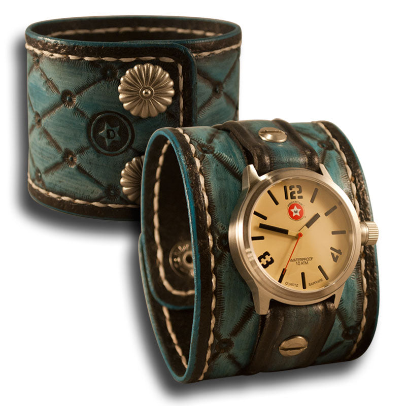 Quilted Leather Cuff Watch with 42mm Stainless Watch