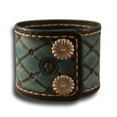 Quilted Turquoise Leather Cuff with Stitching and Snaps-Leather Cuffs & Wristbands-Rockstar Leatherworks™
