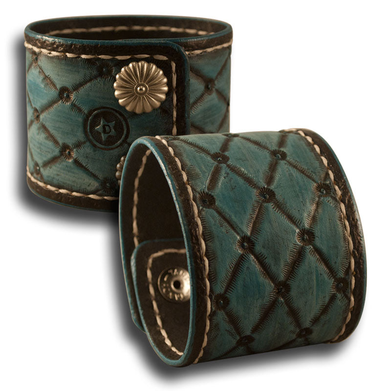 Quilted Turquoise Leather Cuff with Stitching and Snaps