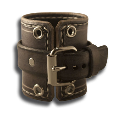 Slate Stressed Leather Cuff Watch Band with Eyelets & Stitching-Custom Handmade Leather Watch Bands-Rockstar Leatherworks™