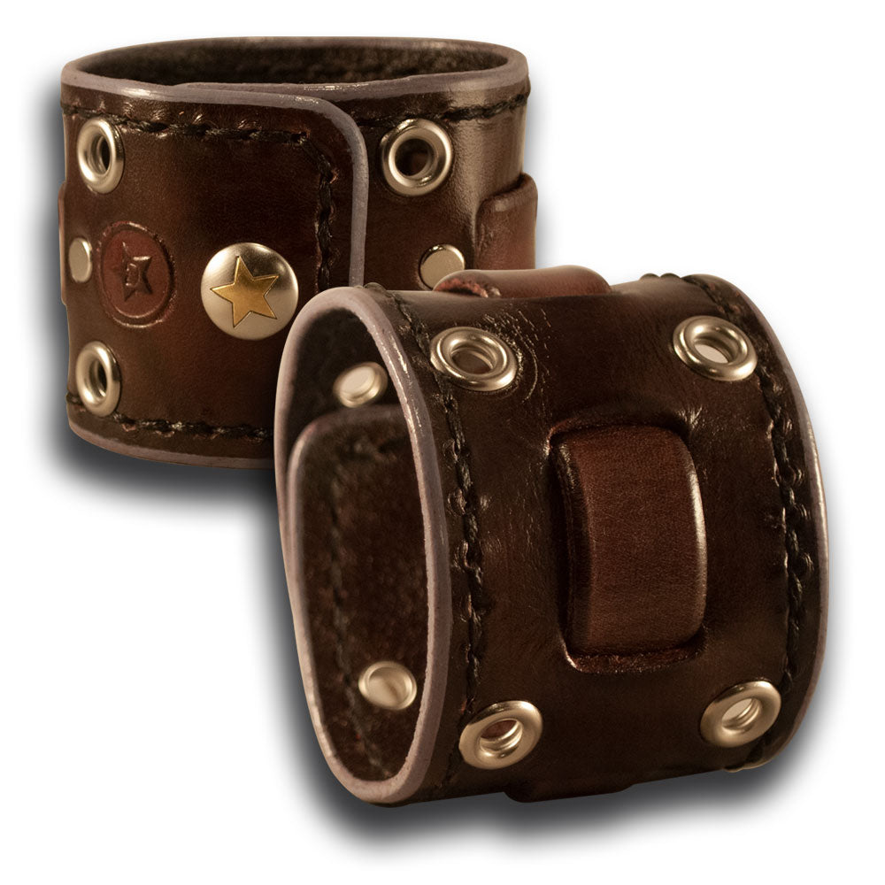 Dark Brown Leather Cuff Wristband with Weaved Strap & Snap-Leather Cuffs & Wristbands-Rockstar Leatherworks™
