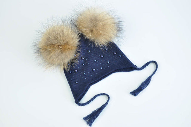 e739a14e7b426b Baby Hat Winter Kids Two Real Bright Fur Ball Knitted Hat Children Double  Real Fur Pompom