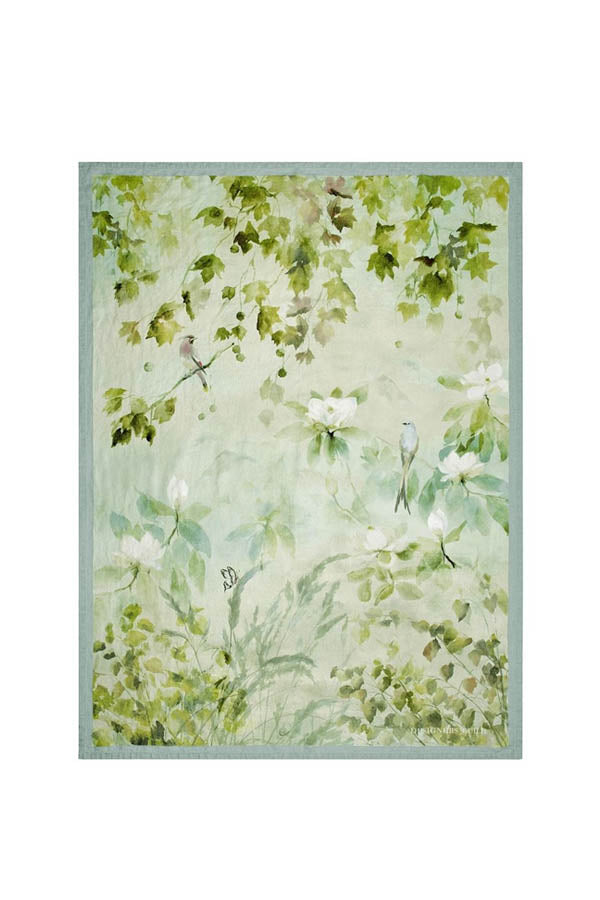 Linen Maple Tree Celadon Throw