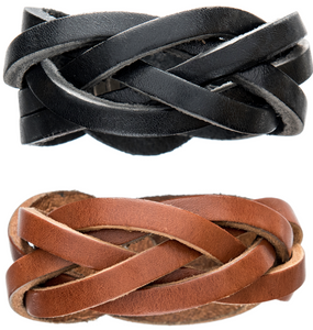 Black and brown unisex braided leather cuffs.
