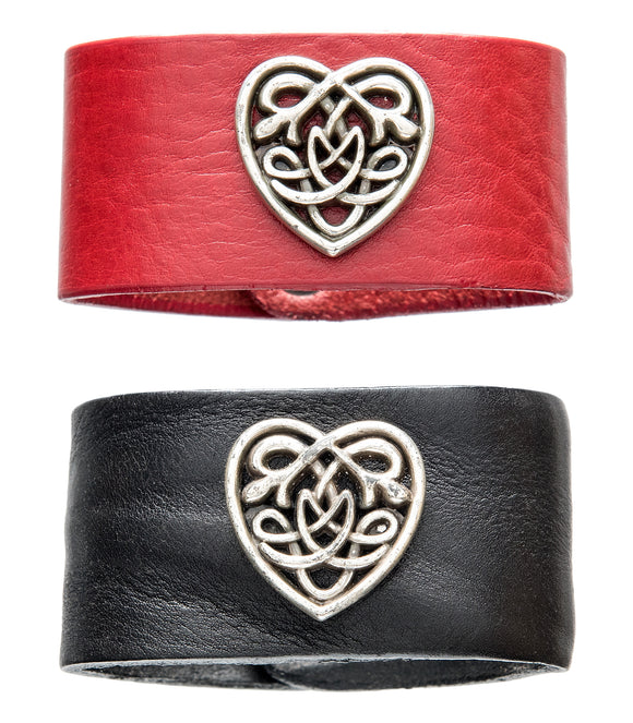 Celtic heart leather cuff in red and brown.