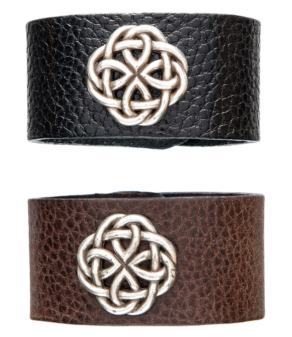 Brown and black leather cuff with Celtic knot.