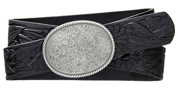 Western Rope Edge Buckle - Black