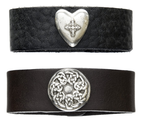 Full grain leather cuff / bracelet with Celtic jewelry.