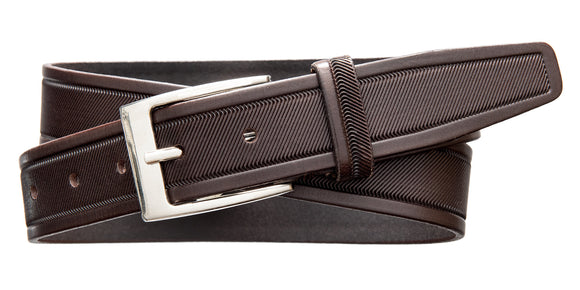 Diagonal Embossed Dress Belt - Chocolate