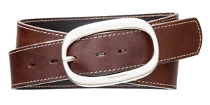 Top Stitch, Oval Buckle - Med Brown