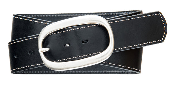 Top Stitch, Oval Buckle- Black