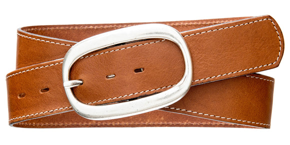 Top Stitch, Oval Buckle - Cognac