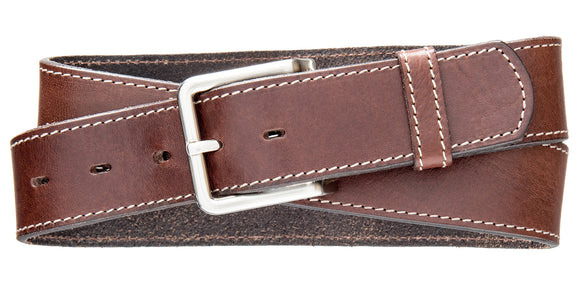 Classic Top Stitch Belt - Brown