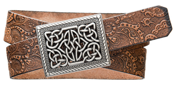 Celtic Knot buckle on a Paisley Embossed natural tan leather strap.