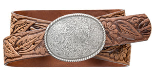Western Rope Edge Buckle - Tan Brown