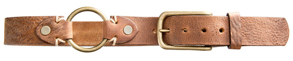 Vintage Brass Buckle Belt - Natural Pebbled Tan