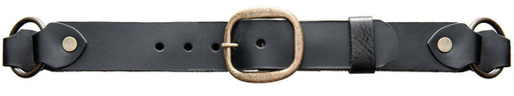Braided black brass ring belt. Made with soft supple leather.