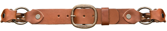 Brown leather braided brass ring belt.
