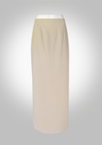 Maxi Pencil Skirt with Kick Pleat- Tan Color