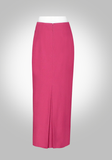 Maxi Pencil Skirt with Kick Pleat- Rose Color