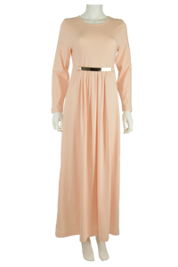 pale peach maxi dress, full length dress, maxi dress, cotton maxi dress, jersey maxi dress, long sleeve maxi dress