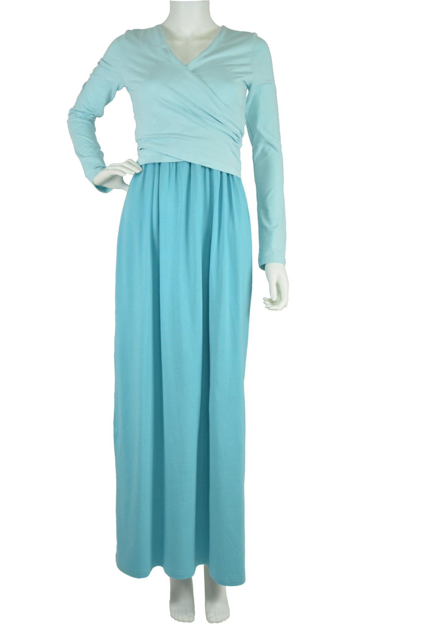 aqua maxi dress, turquoise maxi dress, full length dress, maxi dress, cotton maxi dress, jersey maxi dress, long sleeve maxi dress