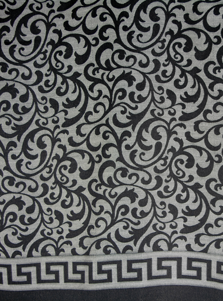Close up Grey and black reversible  oblong hijab, scarf, with scroll pattern