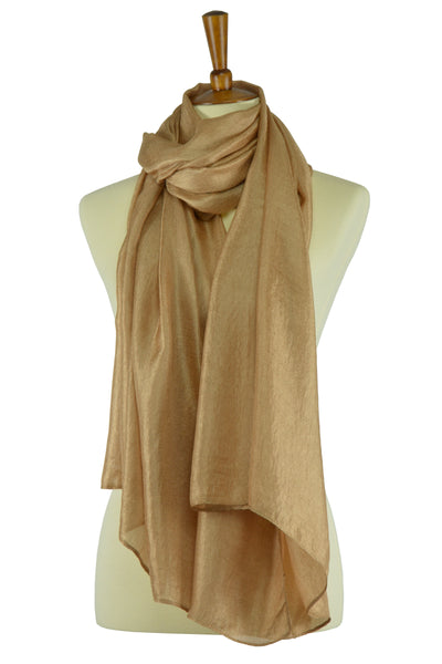 Gold color silk-linen hijab scarf