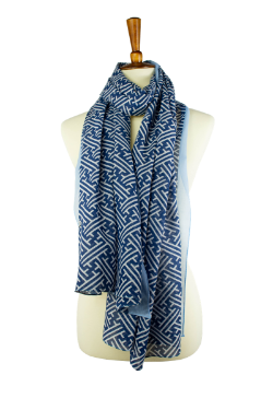 100% cotton lawn blue and white geometric print oblong hijab, scarf, with light blue border