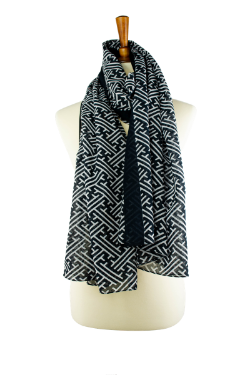 100% cotton lawn black and white geometric print oblong hijab, scarf, with black border
