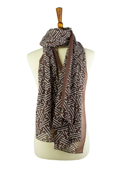 100% cotton lawn brown and white geometric print oblong hijab, scarf, with brown border