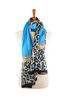 100% Azure Silk Scarf with Leopard Border