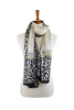 100% Cream Silk Scarf with Leopard Border